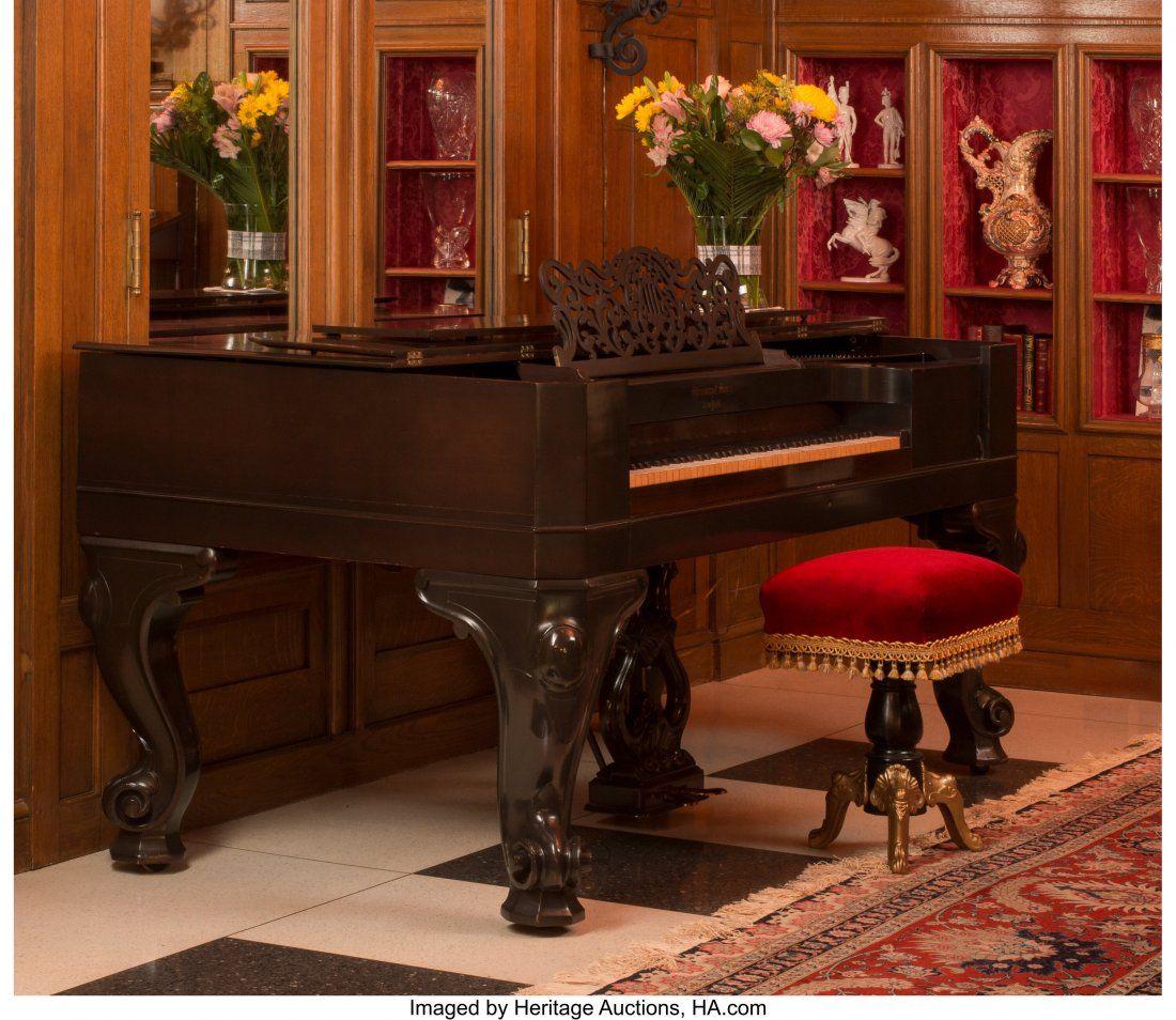 A Steinway & Sons Mahogany Square Grand Piano wi
