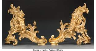 61105: A Pair of French Louis XV-Style Gilt Bronze Chen