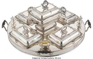61108: An English Silver-Plated Supper Tray with Fittin