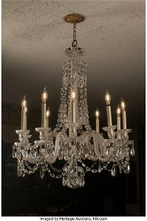 A French Baccarat-Style Glass Twelve-Light Chand