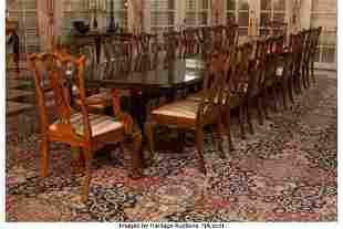 An English Sheraton-Style Pedestal Dining Table