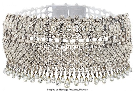61317: A Diamond and White Gold Necklace Stones: Round