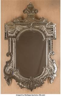 A Venetian Murano Glass Mirror 56 x 37-1/2 inche