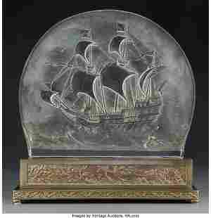 A Bohemian Glass Santa Maria Luminaire with Orig