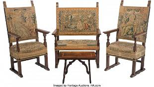 A Four-Piece Jacobean Carved Wood and Tapestry-U