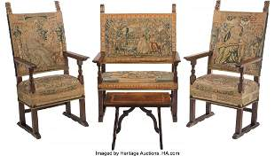 61022: A Four-Piece Jacobean Carved Wood and Tapestry-U