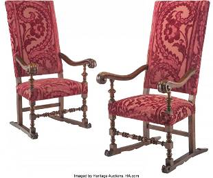 A Pair of Renaissance Revival and Velvet Upholst