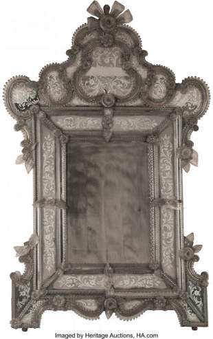 61121: A Large Venetian Murano Mirror 71 x 42 inches (1