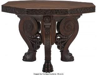 61037: An Italian Baroque Walnut Octagonal Center Table