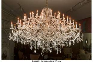 61045: A Large Gilt Bronze and Crystal Chandelier 64 in