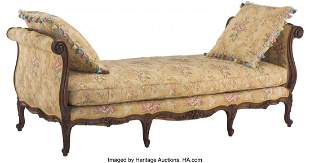 61048: A French Louis-XV Style Walnut and Upholstered L