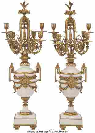 61052: A Pair of French Empire-Style Alabaster and Gilt