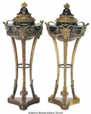 61054: A Pair of Empire-Style Gilt Bronze-Mounted Black