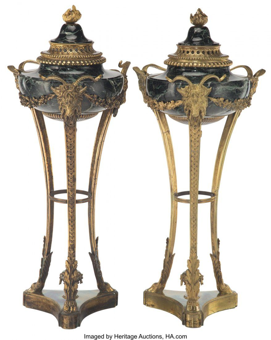 A Pair of Empire-Style Gilt Bronze-Mounted Black