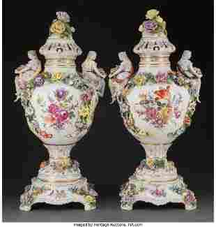 61058: A Pair of Large Thieme Potschappel Porcelain Cov