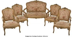 61060: A Five-Piece Louis XV-Style Giltwood and Tapestr