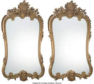 61069: A Pair of French Giltwood Mirrors, 19th century