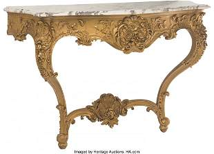 61070: A Pair of French Louis XV-Style Giltwood Console