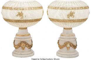 61071: A Pair of Partial Gilt Carved Alabaster Table La