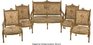 61072: A Five-Piece French Louis XVI-Style Giltwood and