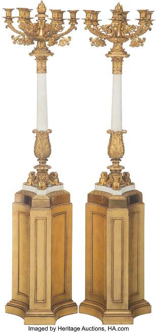 61076: A Pair of Large French Gilt Bronze and Marble Ei