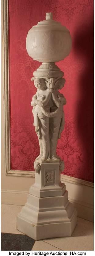 61093: A Continental Alabaster Column-Form Floor Lamp D