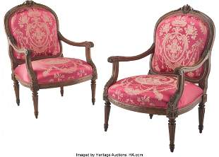 61094: A Pair of French Louis XVI-Style Fauteuil with R