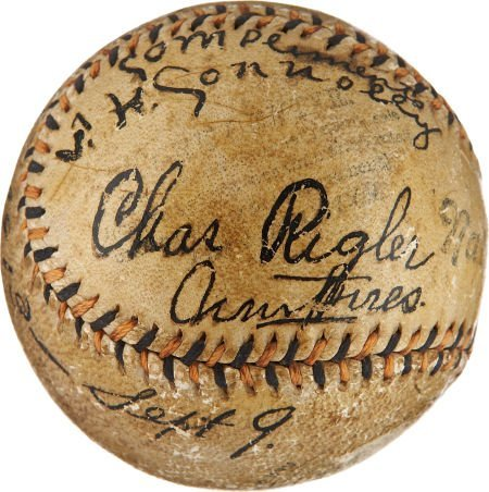 1913 World Series Game Used Baseball Signed by Tommy Co