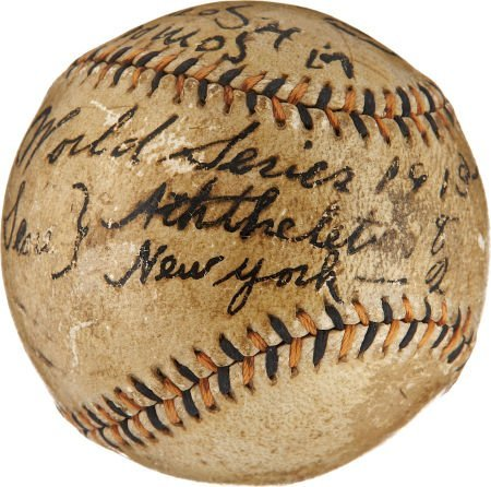 1913 World Series Game Used Baseball Signed by Tommy Co - 2
