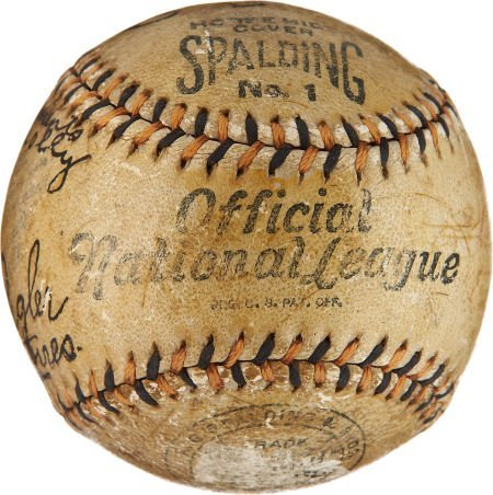 1913 World Series Game Used Baseball Signed by Tommy Co - 3