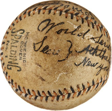1913 World Series Game Used Baseball Signed by Tommy Co - 5
