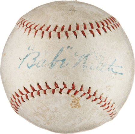 "Circa 1927 ""Babe"" Ruth Single Signed Baseball."