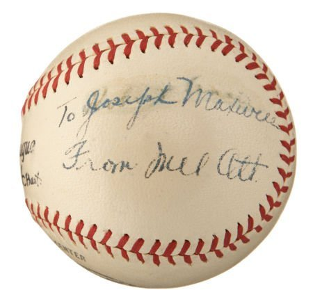 1940's Mel Ott Single Signed Baseball.