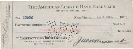 1927 Earle Combs Signed New York Yankees Payroll Check.