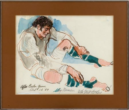 1969 Joe Namath Original Artwork by LeRoy Neiman.
