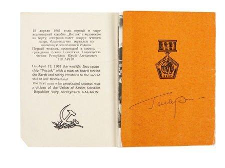 41002: Yuri Gagarin Signed 1961 Booklet.