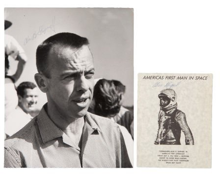 41004: Alan Shepard: Two Signed Photos.