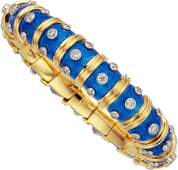 59176 Diamond Enamel Platinum Gold Bracelet Schlum