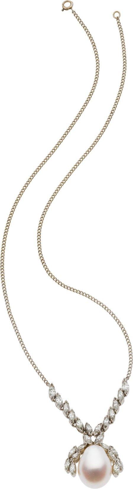 59090: Baroque South Sea Cultured Pearl, Diamond, Plati