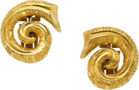 59007: Gold Earrings, Lalaounis, Greek