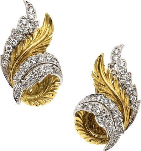 59013: Diamond, Platinum, Gold Earrings, McTeigue