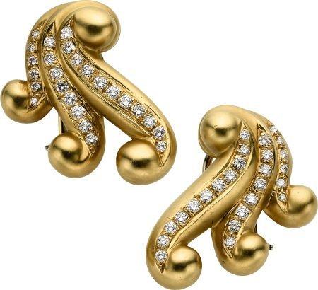 59014: Diamond, Gold Earrings, Angela Cummings, circa 1