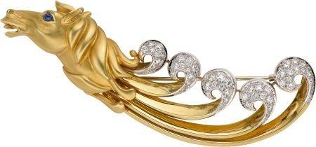 59018: Diamond, Sapphire, Gold Brooch