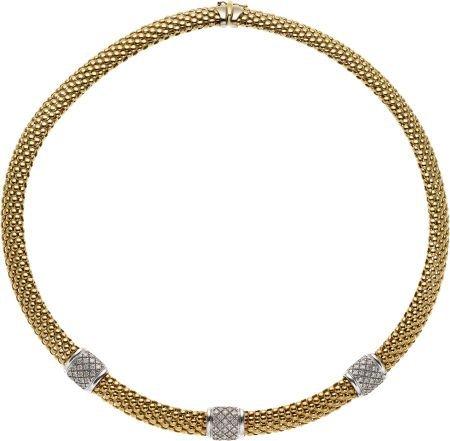 59020: Diamond, Gold Necklace