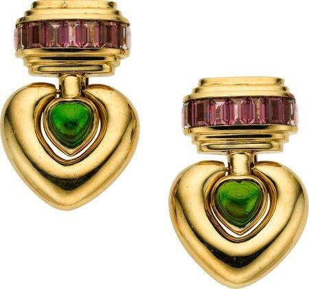 59021: Pink & Green Tourmaline, Gold Earrings, Stevens