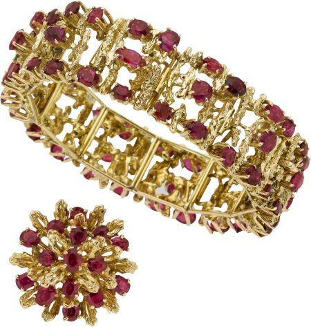 59022: Ruby, Gold Jewelry Suite