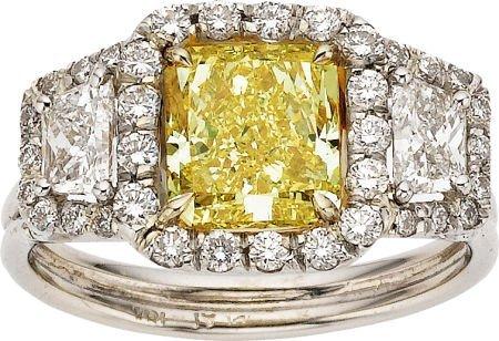 59225: Fancy Intense Yellow Diamond, Diamond, Platinum,