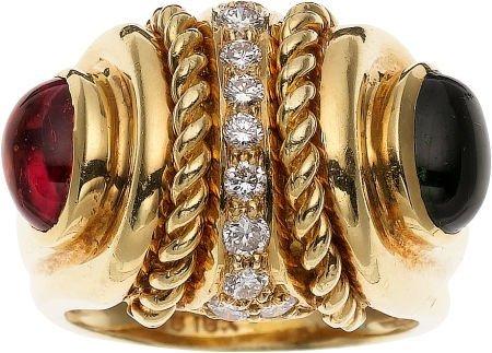 59245: Pink & Green Tourmaline, Diamond, Gold Ring