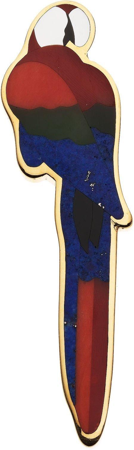 59249: Multi-Stone Intarsia, Gold Brooch, Tiffany & Co.