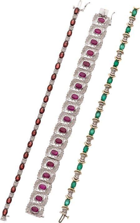 59251: Lot of Multi-Stone, Diamond, Gold Bracelets